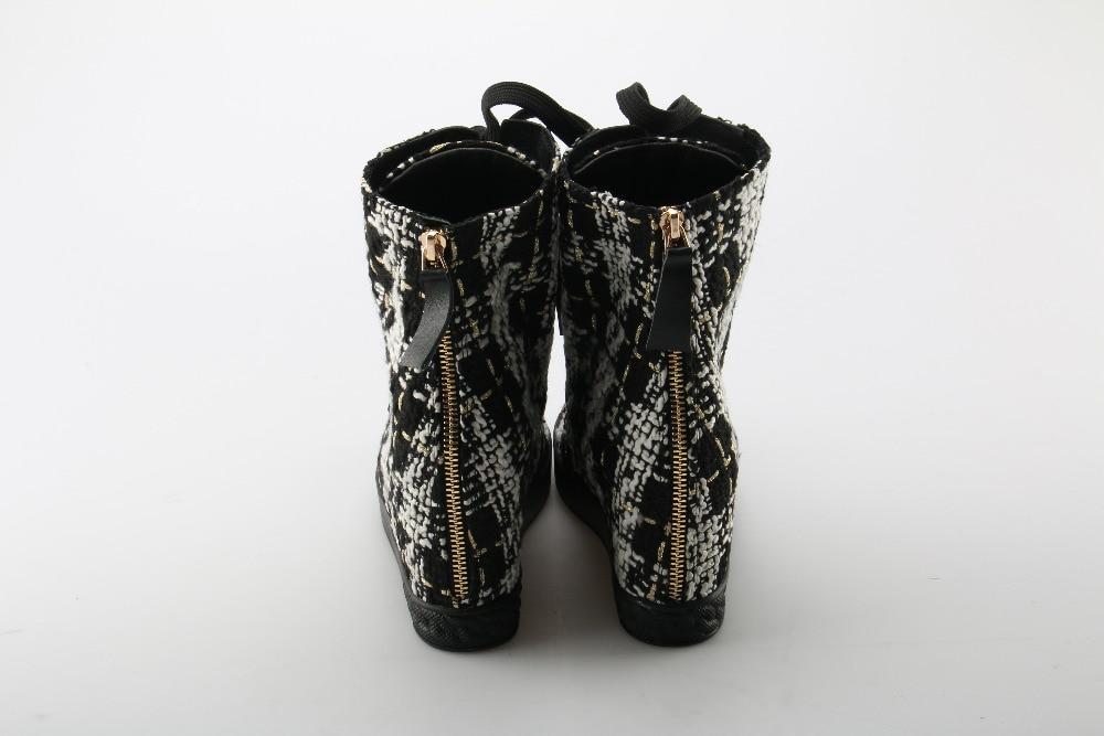 Plaid Femme As En Okhotcn Talon forme Talons Shown Shown Cm Designer Cachés Métal Top De Plate Tissage Hauts Cheville 8 High Chaussures Décoration Plat as qaqvp81