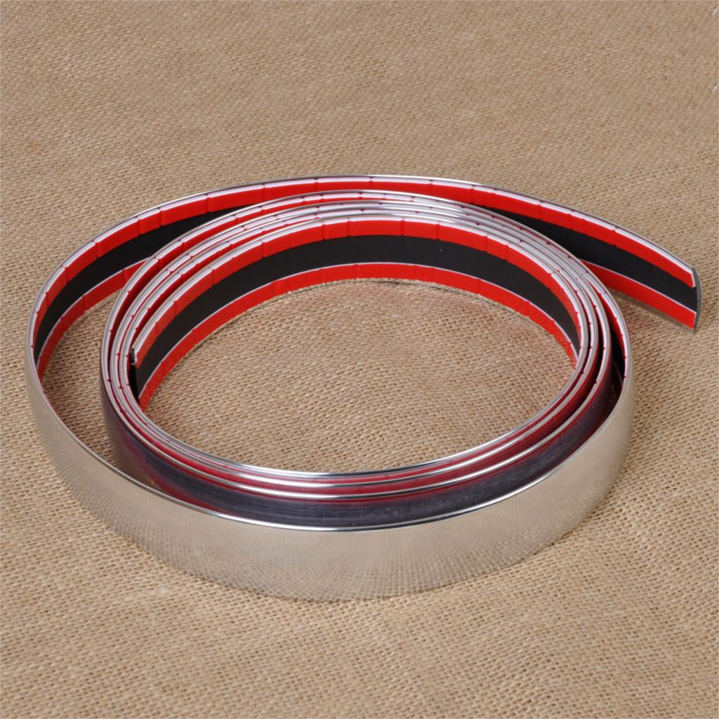 DWCX New DIY 2.5m Exterior Car Chrome Adhesive Strip Trim Tape Molding Styling Decoration Automotive Sticker Door Grille Bumper