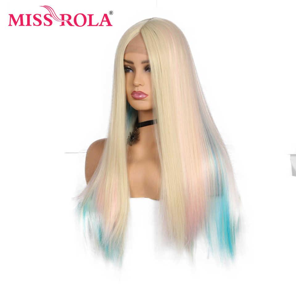 Nona Rola Panjang Lurus Rambut Sintetis Wig Renda Depan Sintetis Wig Pesta Cosplay untuk Wanita Warna Pelangi 26 Inch