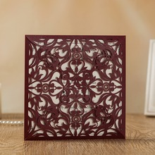 Wishmade Laser Cutting Wedding Invitations Cards 100pcs Marroon Burgundy Color Elegant Glitter invitation AW8502