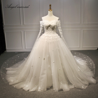 Angel married wedding Dresses 2018 boat neck wedding gown with shawl appliques lace bridal dress noivas vestidos de noiva