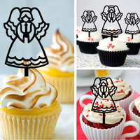 Free Shipping 8pcs Set Angel Theme Wedding Acrylic Cupcake Topper Party Decors Baby Shower Cup Cake