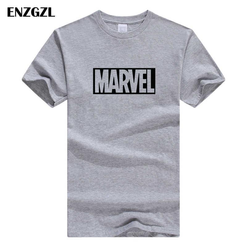 ENZGZL vestiti di estate T Camicette Mens MARVEL 100% Maglietta del COTONE manica Corta Stretto di Sesso Maschile T-Shirt Girocollo XS S M L XL streetwear