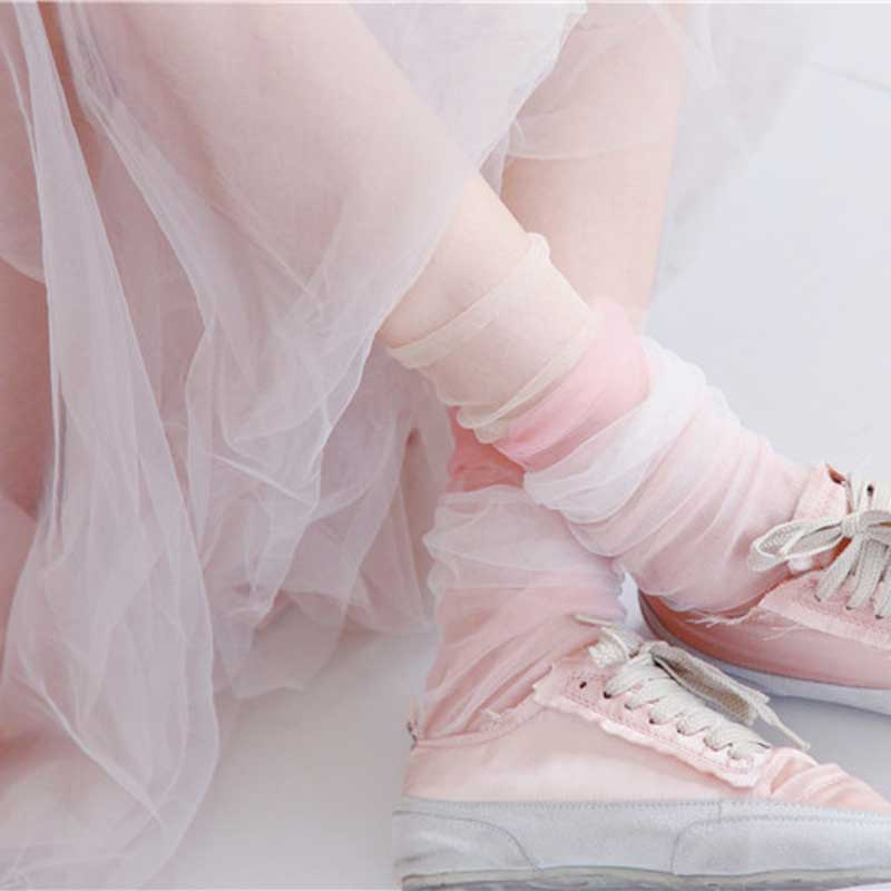 Fashion Summer Yarn Shiny Short Socks Female Harajuku Thin Socks Women Modern Art Transparent Funny Glitter Socks Hollow Out Sox