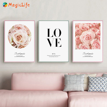 Pink Flower Rose Love Inspirational Quotes Wall Posters  Canvas Painting for Living Room Nordic Art Pictures Unframed