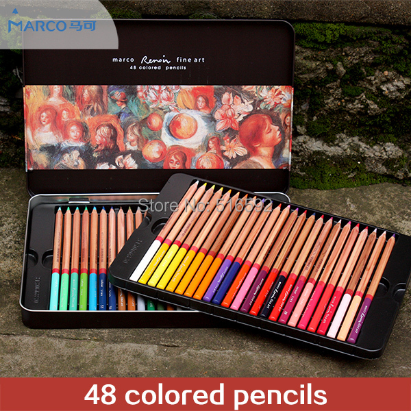 Marco3100 Renoir fine art 48 colored pencils in a box, high quality drawing pencil set for professional drawing marco renoir 3220 black wood colored pencils 24 36 48 colors watercolor pencils set for drawing lapis professional art supplies