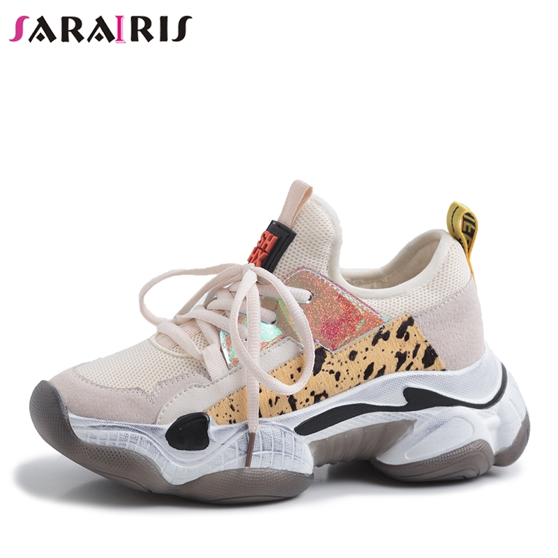 SARAIRS 2019 New Summer INS Hot Women Horsehair Sneakers Cow   Leather     Suede   Large Size 35-42 Women Flat platform Shoes Woman