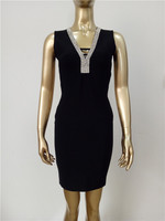 3 Colors High Quality Red Black Blue Blackless Sleeveless Rayon Bandage Dress Evening Party Dress A89