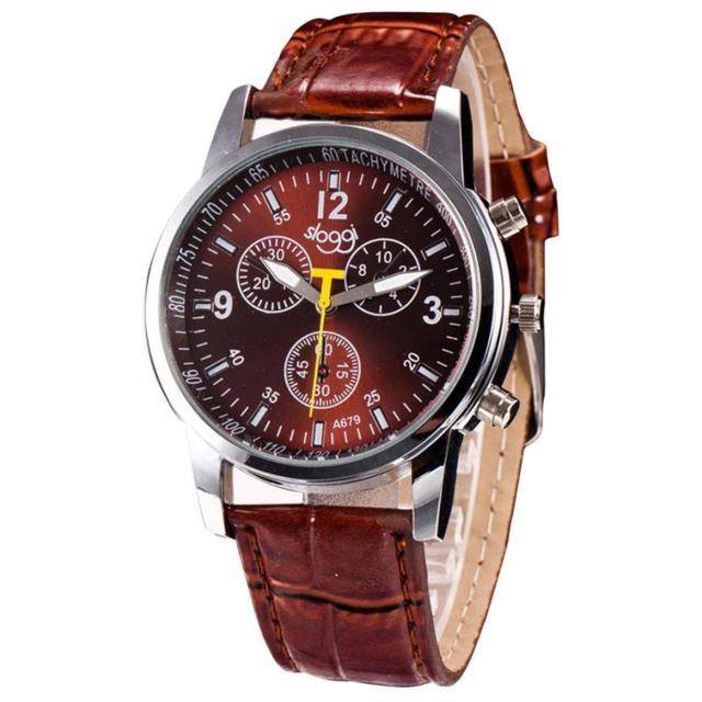 Crocodile Leather Band Alloy Quartz Wrist Watch 2