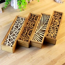 Multifunctional hollow out receive case Wooden storage boxes 19.2*5.5*4cm free shipping