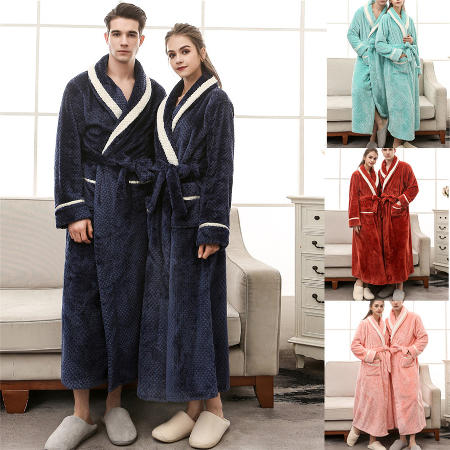 Detail Feedback Questions about Unisex Winter warm Lengthened Coralline  Plush Shawl Bathrobe Long Sleeved Robe Coat thermal underwear  1102 A 733  on ... 8db0d0a3f