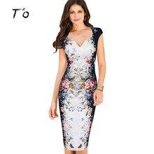 T'O 2016 Summer Elegant Floral Butterfly Print Deep V Neck Charming Cap Sleeve 3XL Casual Party Club Bodycon Sheath Dress 164