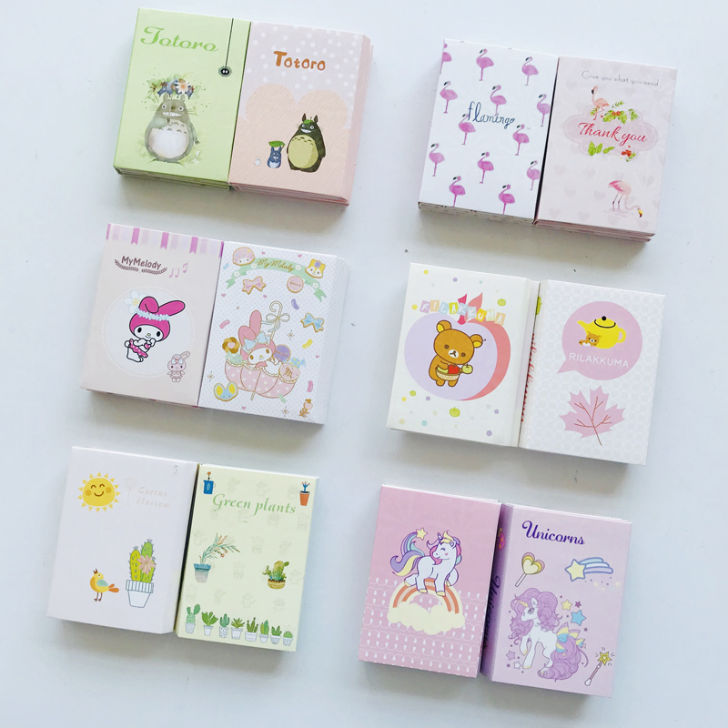Cute Flamingo Melody Cactus Folding Memopads Marker Message Sticky Notes Decor Bookmark School Office Supply Student Stationery