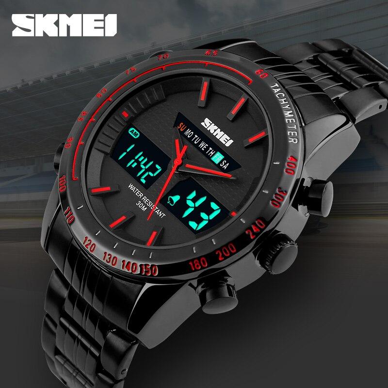 New Fashion Men Watches Full Steel Men's Quartz Hour Clock Analog Digital LED Watch Sports Military Wrist Watch 1131