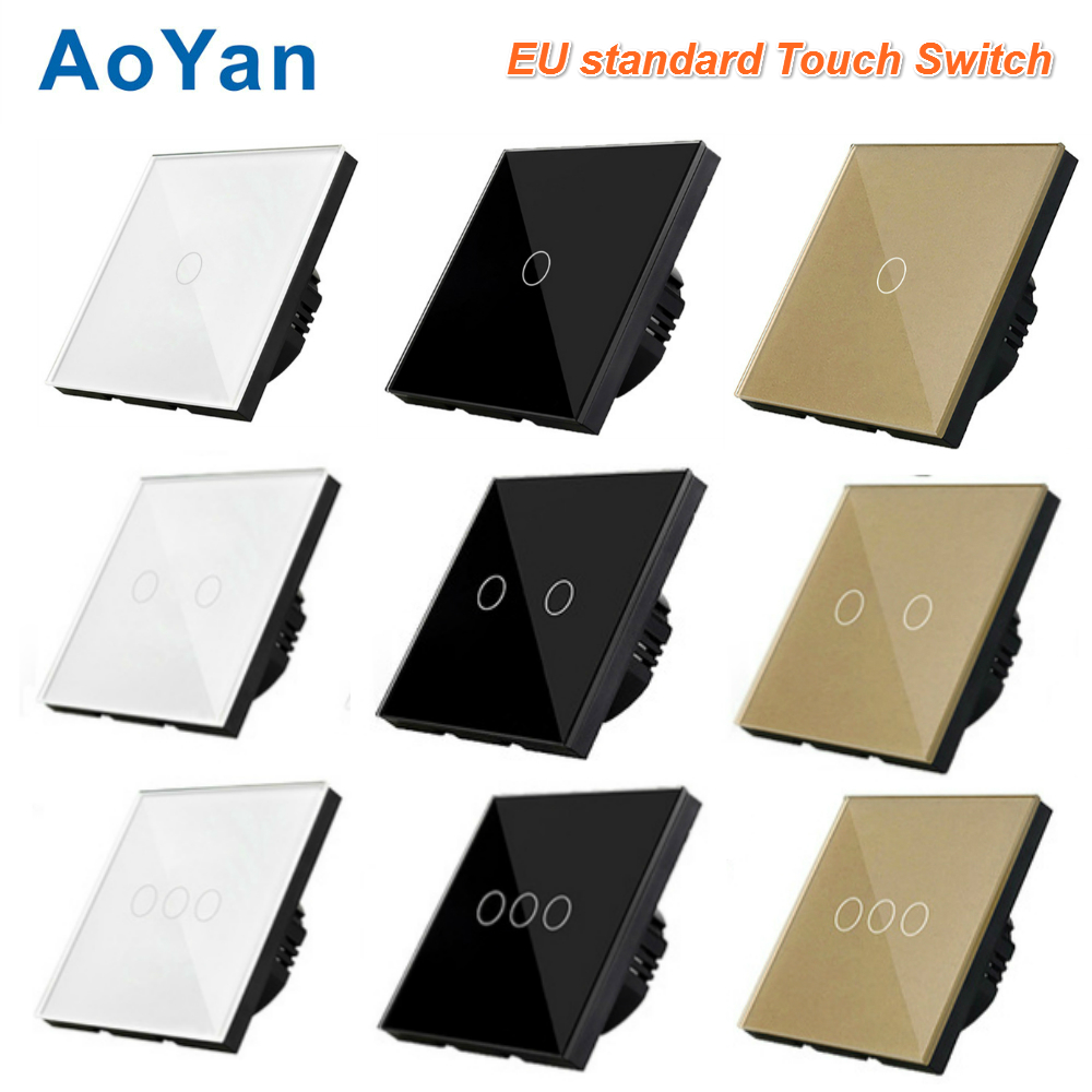 AoYan EU Standard Touch Switch 1 Gang 2 Gang 3 Gang Crystal Glass Switch Panel Wall Light Touch Screen Switch smart home us black 1 gang touch switch screen wireless remote control wall light touch switch control with crystal glass panel