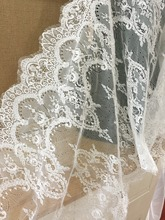 3 yards Exquisite French Alencon Lace Fabric in Ivory for Wedding, Gowns, Bridal Veils, Costumes Design 60 cm wide