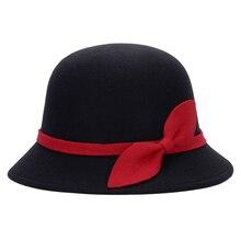 Милые модные дамские женские фетровые шляпы из искусственной шерсти, Клош Дерби котелок, Кепка с бантом AIC88
