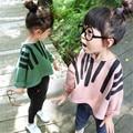 Fast Высокое Качество Детской Одежды 2016 Корейский Моды Милые Случайные Свободные Топ футболка Девочка Одежда Рубашки Осень и весна