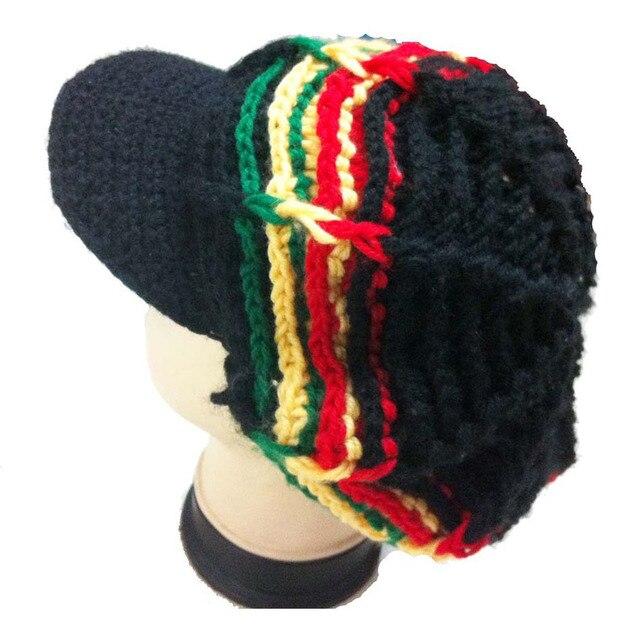 Hecho a mano de punto de ganchillo Jamaica reggae rasta sombreros ...