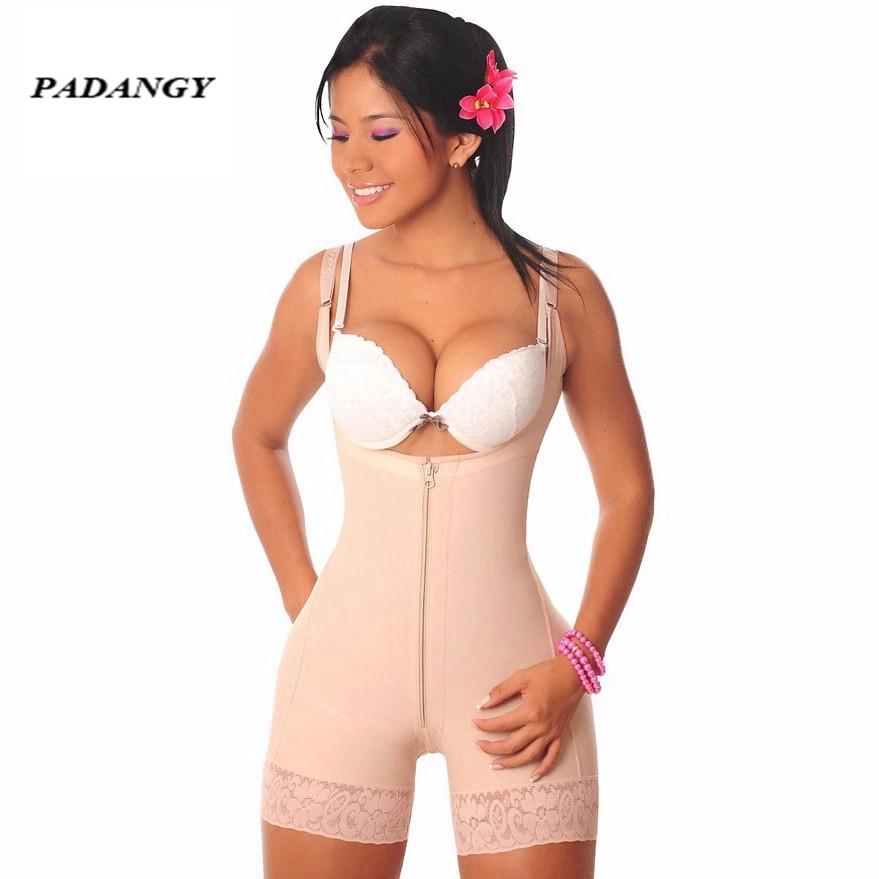 f96c4d86bd81 PADAUNGY Bodysuit One Piede Body Shaper Sexy Zip Women Tummy Control Pants  Sashes Shapewear Butt Lifter Underwear Plus Size