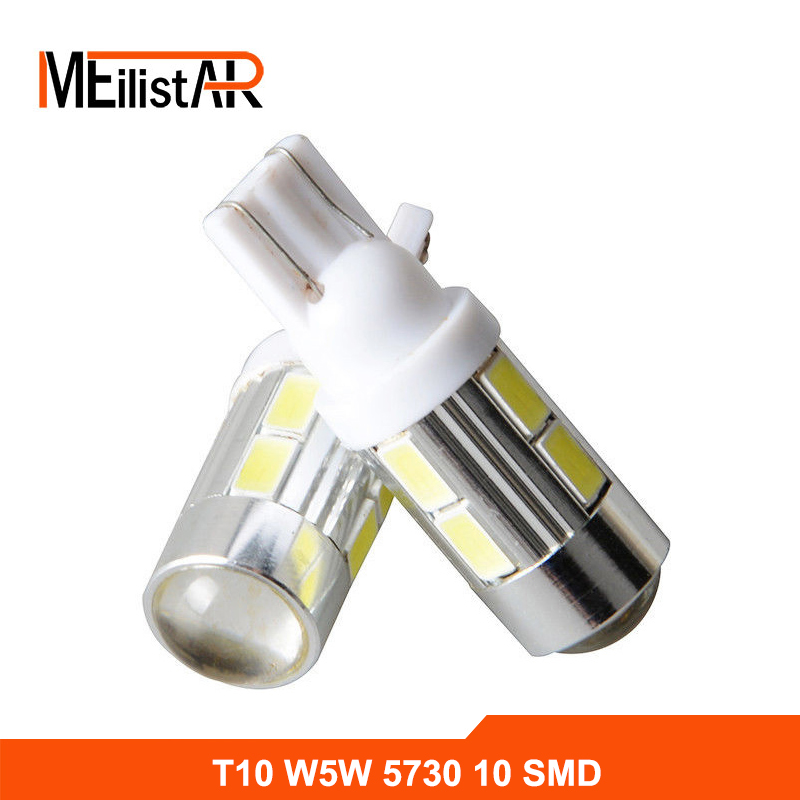1Pcs 2016 NEWS!Car Auto LED T10 194 W5W no-Canbus 10 smd 5730 LED Light Bulb No error led light Car styling Free shipping 10pcs led car interior bulb canbus error free t10 white 5730 8smd led 12v car side wedge light white lamp auto bulb car styling