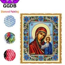 GGDB Mosaic Diamond Rhinestone Painting Madonna & Jesus Religion Painting 5D Square Diamond Cross Stitch Crafts Religion Pattern