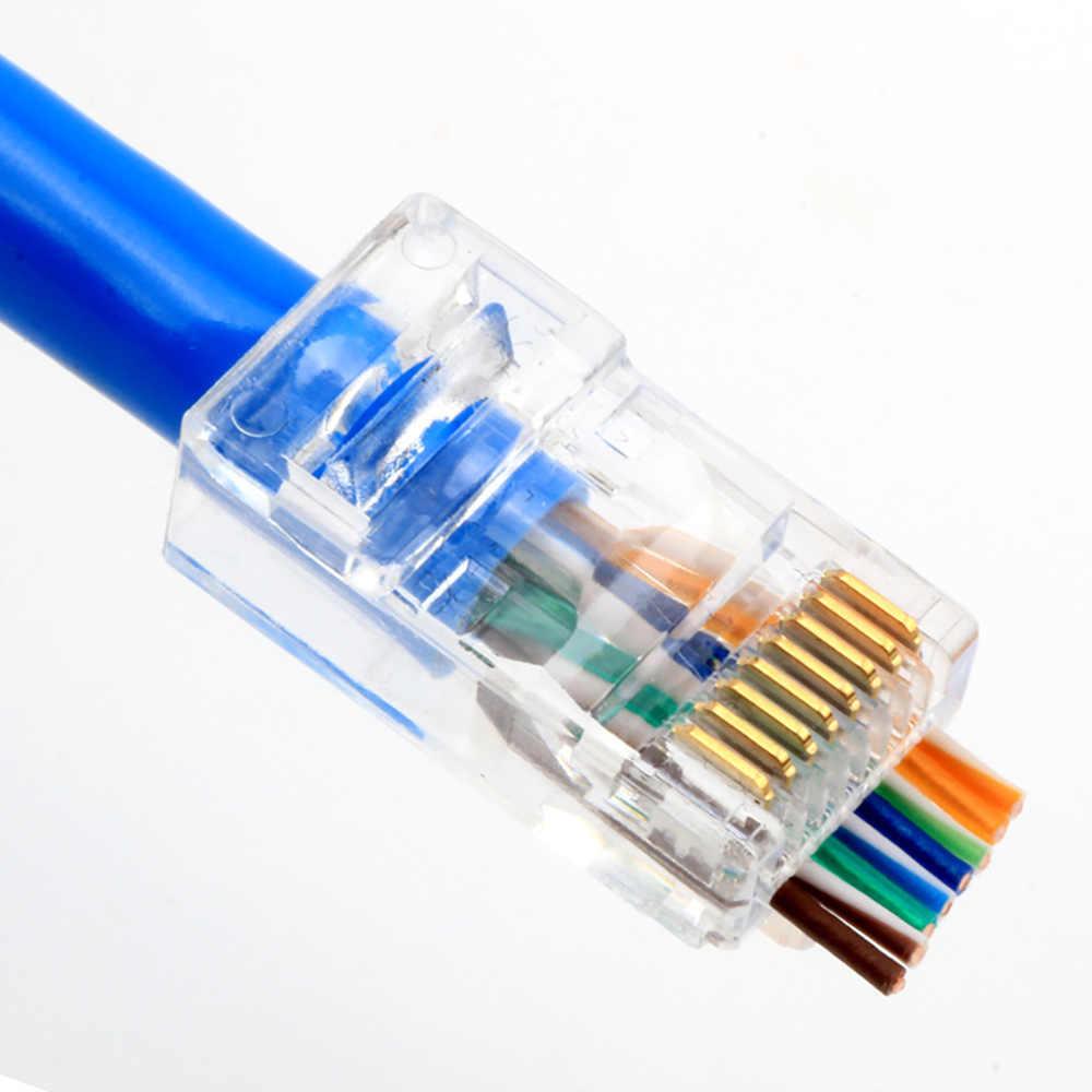 OULLX 20/50/100 adet RJ45 konektörü 6U altın PlatedPass ile Ethernet kabloları modülü tak ağ RJ-45 kristal kafa Cat5 Cat5e