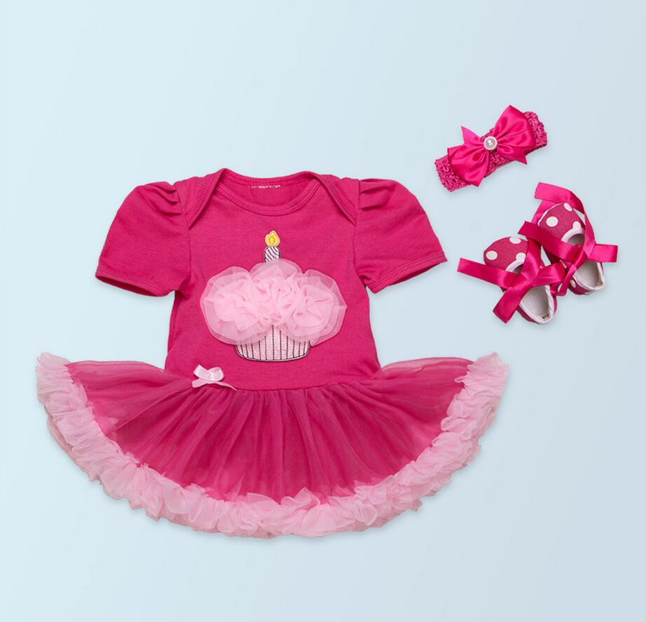 3PCs per Set Baby Girls First Second Hot Pink Birthday Party Tutu Dress Headband Shoes for 0-24Months