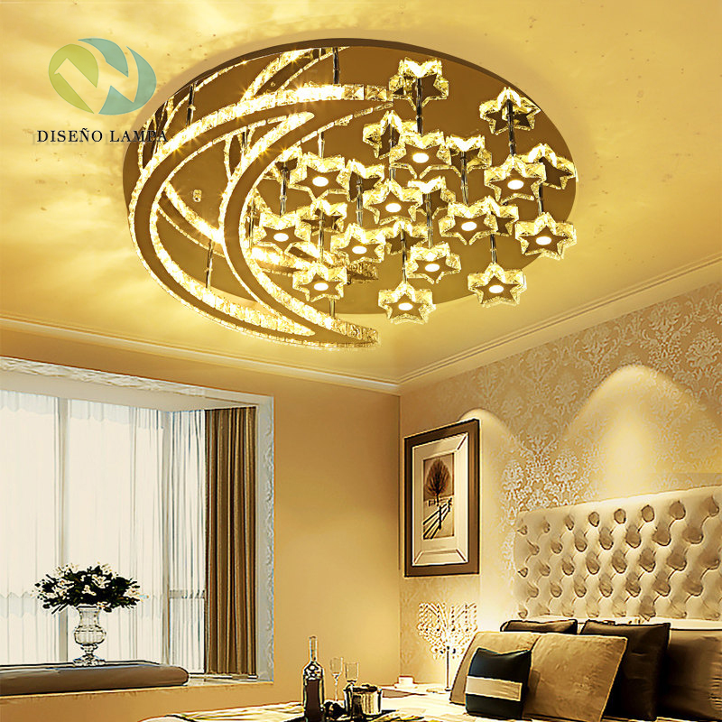 Moon Lights Bedroom: Disenolampa Modern Design Crystal Led Ceiling Lights Moon