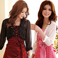 F~3XL New Women Sexy Stylish Large Big Size Cropped Rose Sheer Chiffon Bolero Short Small Cardigan Jackets Party Evening Coats
