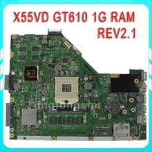 original X55VD laptop motherboard X55VD REV2.2 HM76 PGA 989 N13M-GE6-S-A1 GeForce GT 610M 1 Gb tested Ok