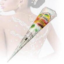 White Henna Paste Cone Flash Glitter Temporary Tattoo Cones Mehandi Body Tattoos Art Paint Tool Natural Herbal STA