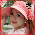 Caliente venta verano playa mujeres sombrero lindo amplia sombrilla casquillo del sol de verano para la señora flor plegable parasol