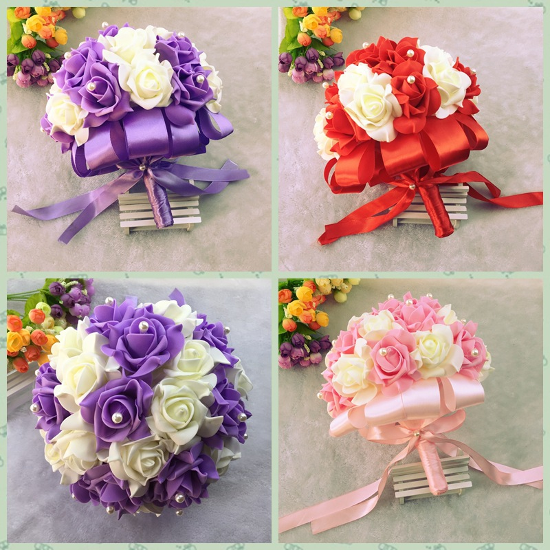 AYiCuthia Bride Flowers New Arrival Romantic Wedding Colorful Bride 's Bouquet Red Pink And Purple Bridal Bouquet S1