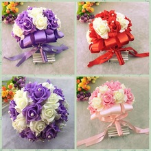 AYiCuthia Bride Flowers New arrival Romantic Wedding Colorful s Bouquet red pink and purple bridal bouquet S1