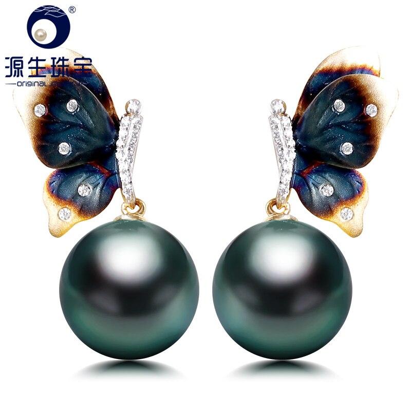 YS 14 K Réel Or Élégant Papillon Boucle D'oreille 10-11mm Noir D'eau Salée de Tahiti Perle Boucle D'oreille Pour Les Femmes