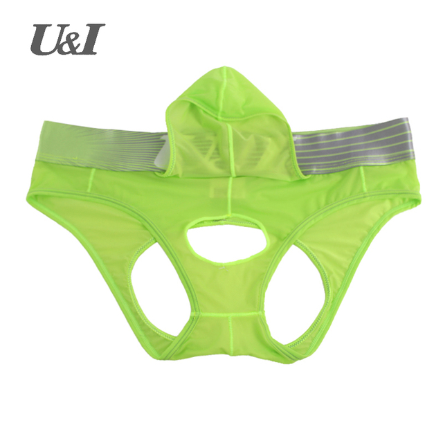 u&i men quick-drying nylon thong temptation of transparent thin hip pocket Double D underwear sexy gay transparent mens