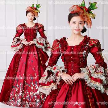 Brand New Red Lace Printed Marie Antoinette Dress Southern Belle Victorian Period Ball Gown Reenactment Women Clothing