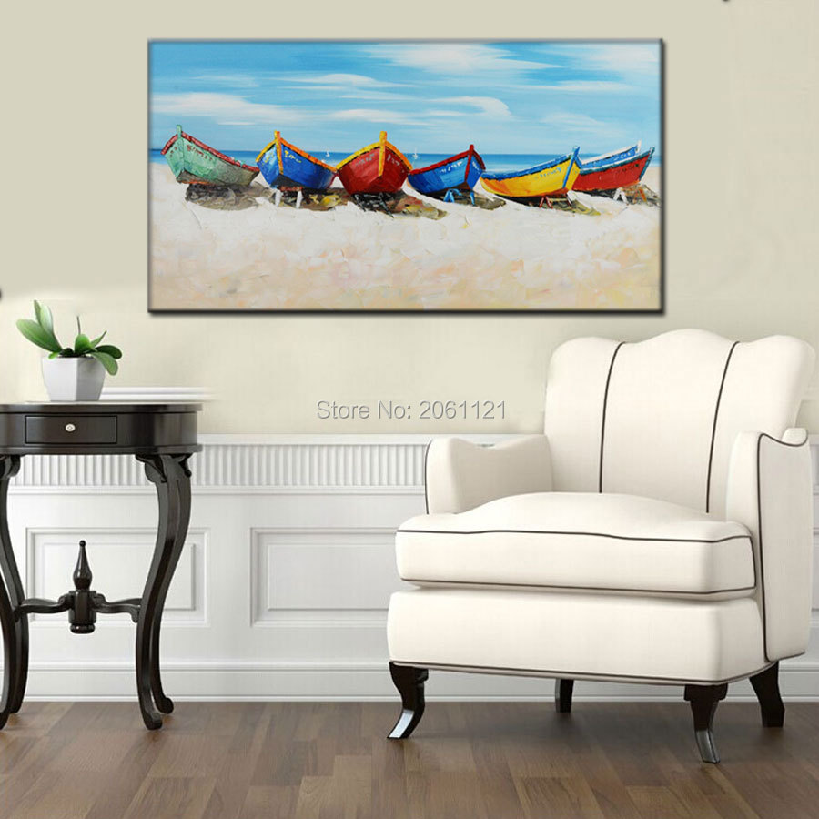 100 Handpainted Canvas Wall Art modern boat Painting white blue seascape Oil Painting Modern Home Decoration Wall Picture in Painting Calligraphy from Home Garden