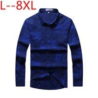 plus size 10XL 8XL 6XL 5X Spring Men's Shirt Social Dress Print Casual Loose Fit Long Sleeve Shirts Men Clothes Camisa Masculina
