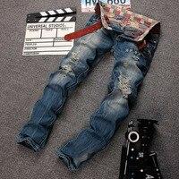 2018 Spring New Men Jeans Designer Patched Stretched Hiphop Skinny Fit Denim Pants In Men`s Plus Size 38