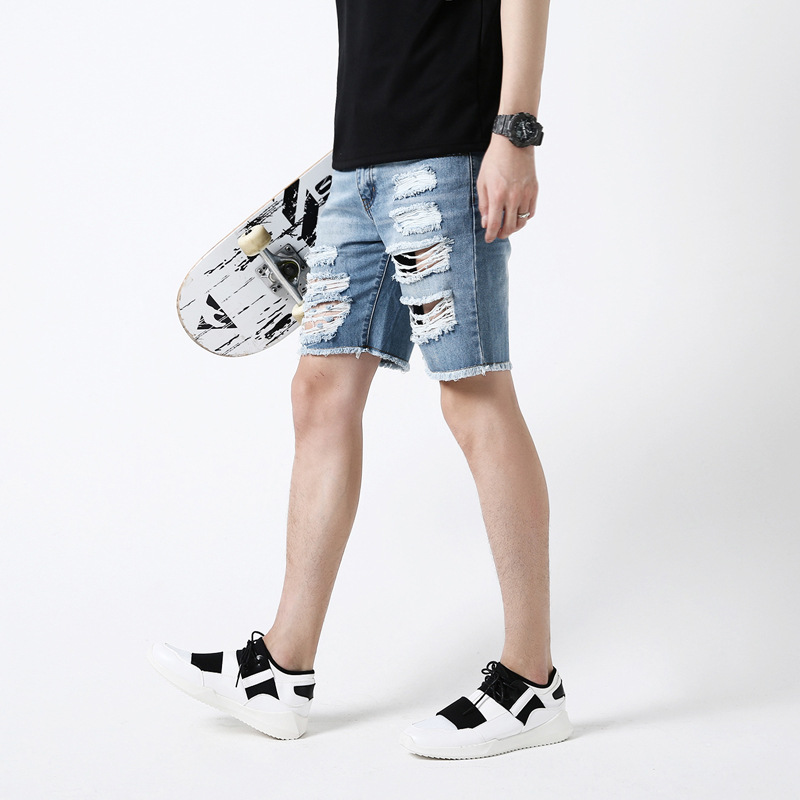 Aliexpress.com : Buy Hole Denim Shorts Men Washed Bleached Ripped ...
