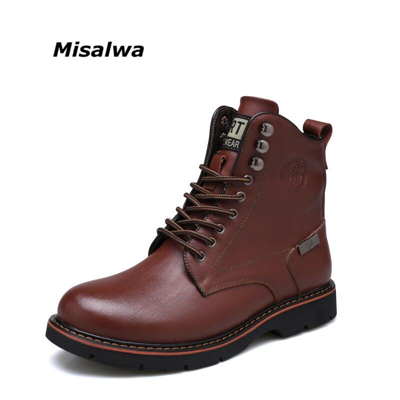 Misalwa 2018 Оригинальные кожаные сапоги Для мужчин ботинки martin Бизнес Низкие ботильоны однотонные зимние брендовые рабочие ботинки