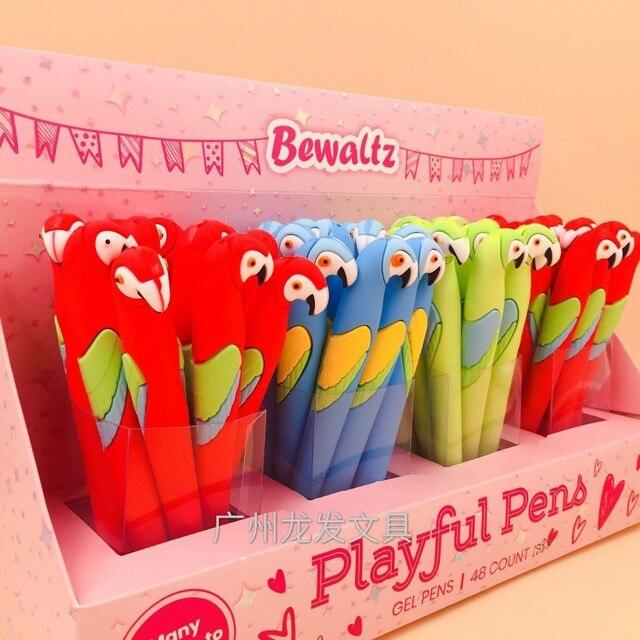 48 unidades/pacote bonito dos desenhos animados papagaio animal silicone gel caneta criativa papelaria sinal caneta estudantes prêmio festa promoção presente caneta