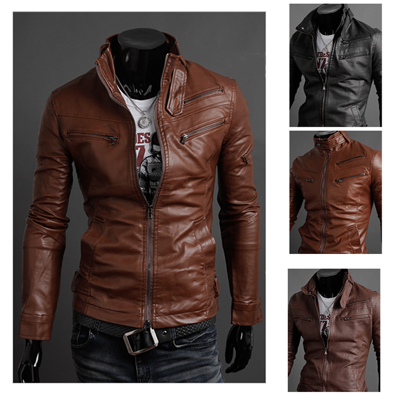 Free Shipping Men's Leather Jacket,paragraph zipper male stand ...