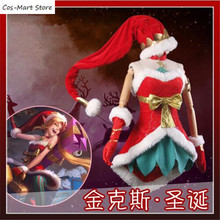 Game LOL Jinx The Loose Cannon Christmas Uniforms Cosplay Costume Cos Dress  Lolita b36d04f2b75d