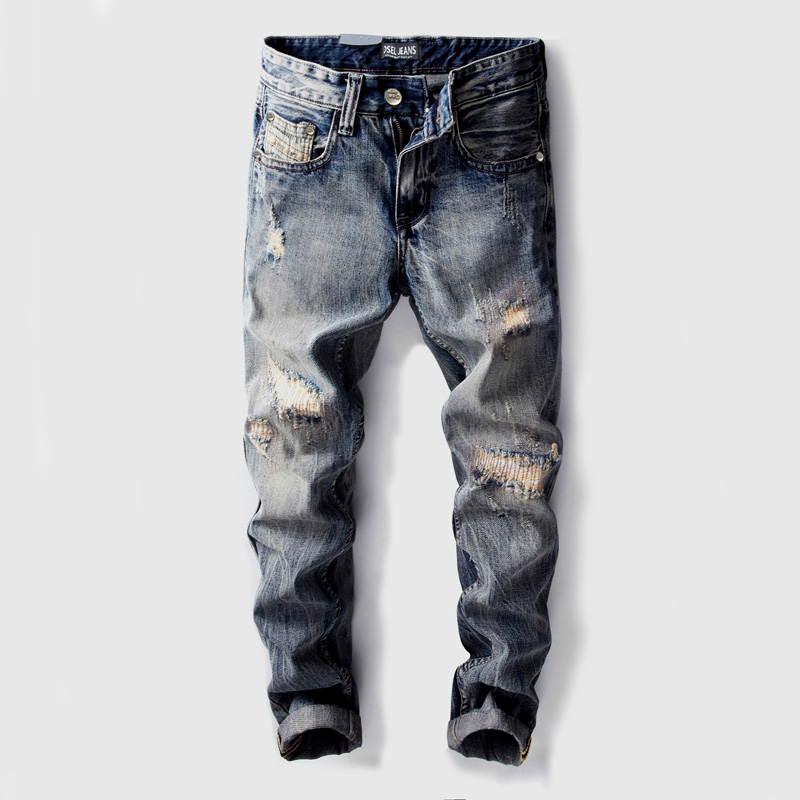 Fashion Vintage Designer Men   Jeans   Straight Fit Destroyed Ripped   Jeans   Men Streetwear Cotton Classical Pants DSEL   Jeans   homme