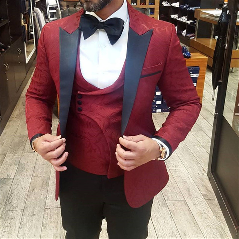 Burgundy Jacquard Pattern Wedding Mens Suits for Groom Tuxedos 2018 Three Piece Jacket Vest Black Pants Slim Fit Custom Suit