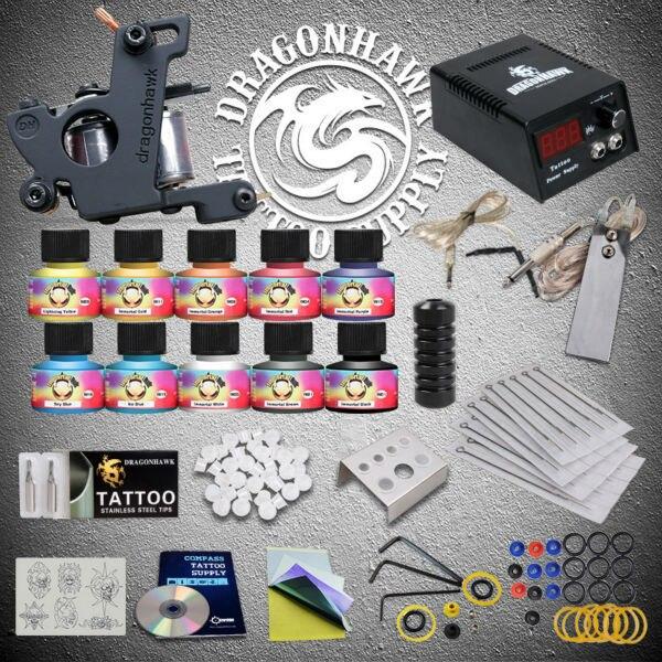 Professional Tattoo Starter Kits 1  Machine Power Supply 10 Tattoo Ink Sets