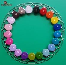 50pcs clip della forcella del metallo rotondo dello smalto con i denti di plastica, clip di ciuccio per il nastro di 25MM, mescoli 21 colori, PIOMBO e NICKLE liberamente